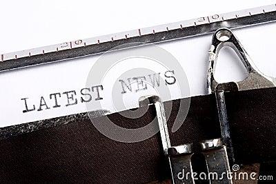 LATEST NEWS written on typewriter