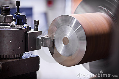 Lathe cutting metal