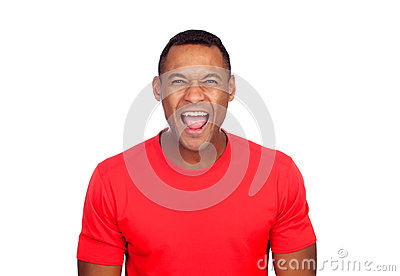casual latin american man portrait over a white background