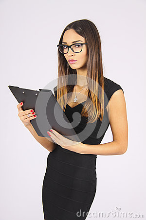 Free Latin Business Woman Holding Clipboard In Glasses Stock Photo - 49885950