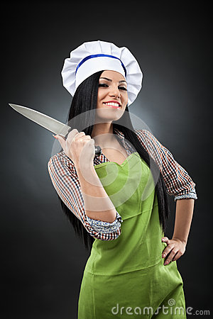 Latin chef woman with knife