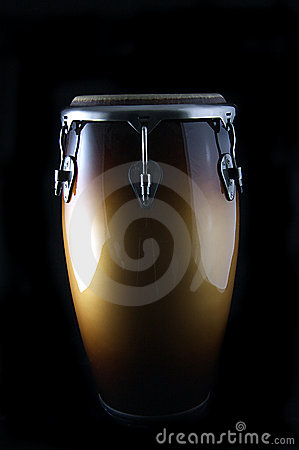 Latin Conga drum on a black Bk