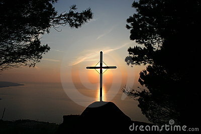 Latin cross on the sunset