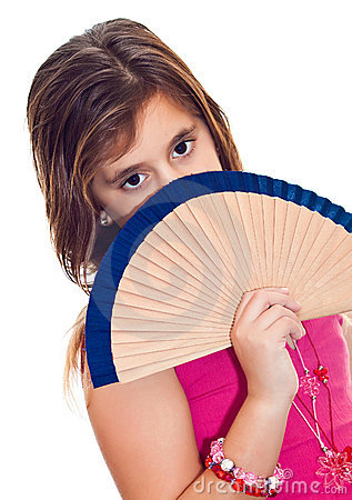 Latin girl hiding behind a fan isolated on white