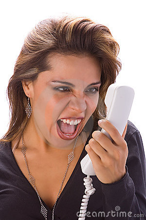 Latin girl with phone yelling