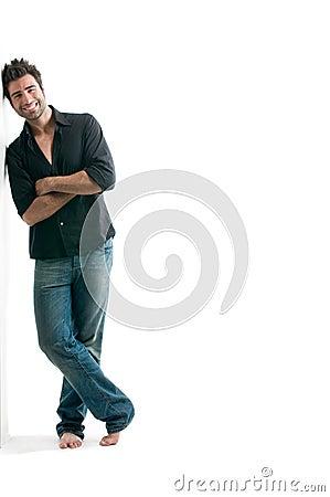 Free Latin Man Against White Wall Stock Photo - 10598560