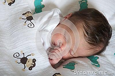 Latin newborn baby girl sleeping peacefully