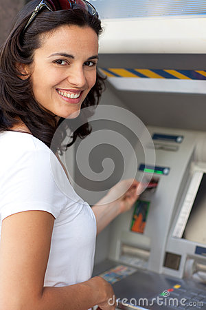 Free Latin Woman At ATM Stock Photography - 77817202