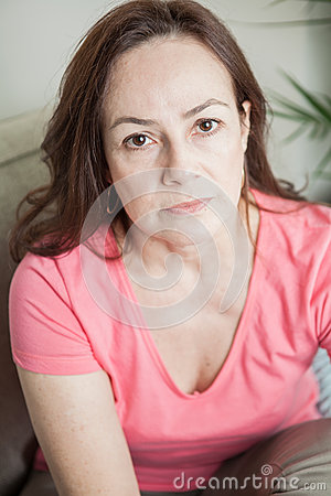 Latin woman looking at the camera