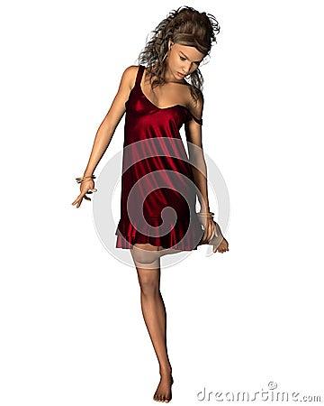 Latin Woman in Red Dress