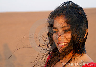 Latin Woman in Wind