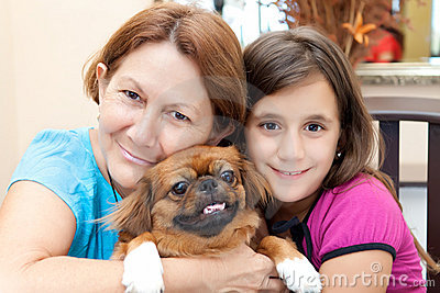 Latin women with their family dog