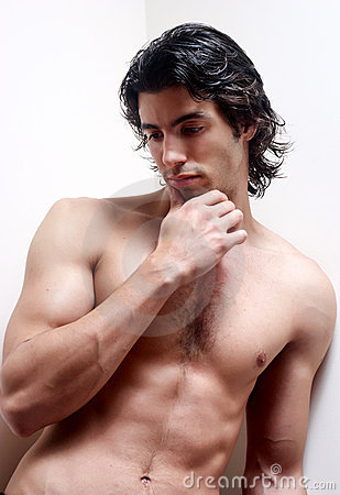 Latin young man without a vest