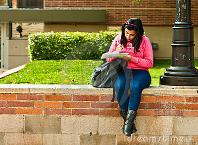 Latina University Student Studying On Campus Editorial Stock Image