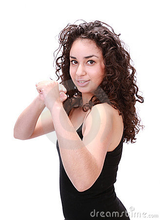 Latina woman boxing