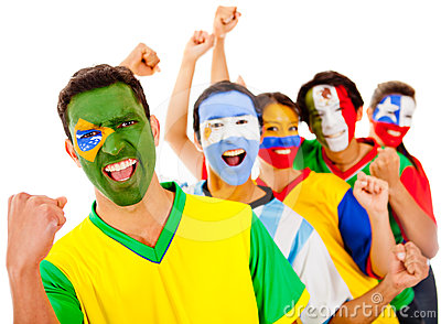Latinamerican Team With Arms Up Stock Photo - Image: 24376770