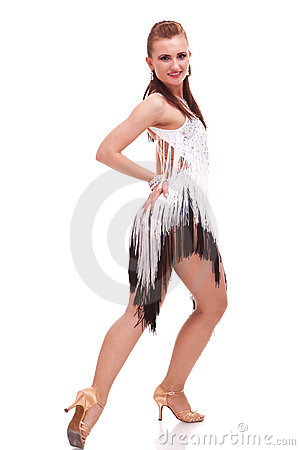 Latino dancer posing. isolated on white
