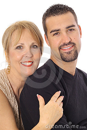 Latino son with his mother
