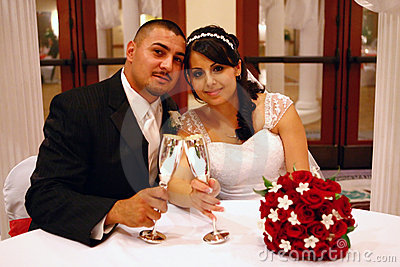 Latino Wedding Couple Toasting