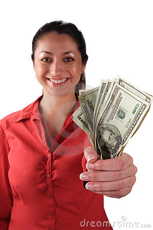 Free Latino Woman With Money Stock Photography - 1952152