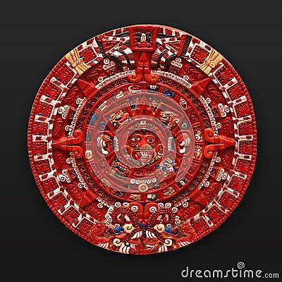 Latinsk sten Amerika för aztec kalender