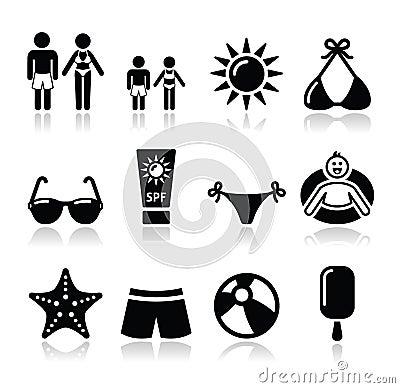 Lato wakacji plażowe ikony ustawiać