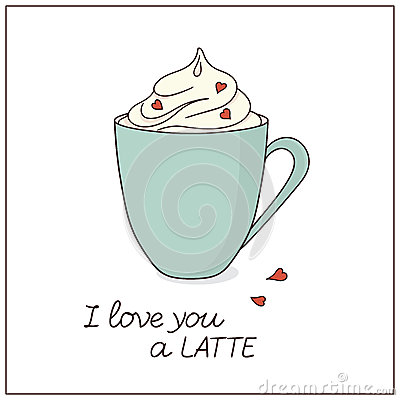Latte love card Vector Illustration
