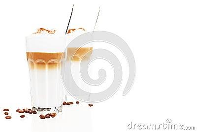 Latte macchiato in front of another latte macchiato