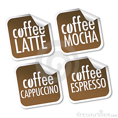 Latte, Mocha, Cappuccino and Espresso coffee
