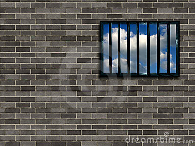 Latticed prison window