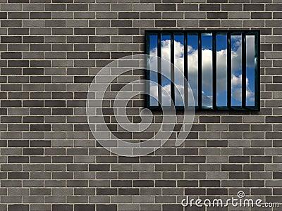 Latticed prison window