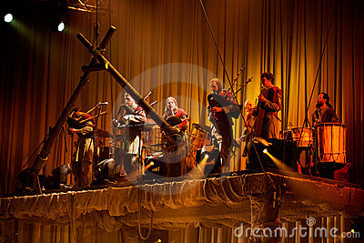 Latvian Bagpipes and drum music group Auli Editorial Stock Photo