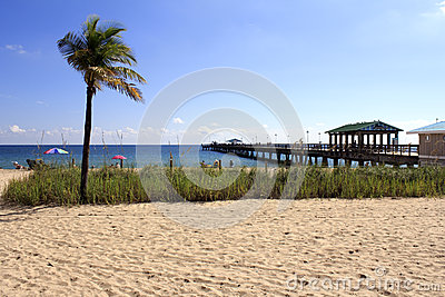 Lauderdale-by-the-Sea, Florida Beach and Pier Editorial Image