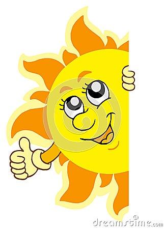 Lauernder Sun mit den Händen