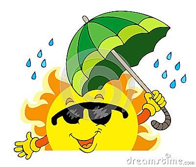 Lauernder Sun mit großem Regenschirm