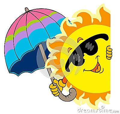 Lauernder Sun mit Regenschirm
