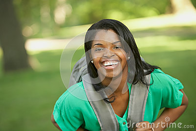 Laughing African American female student