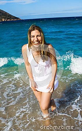 Laughing Beach Girl