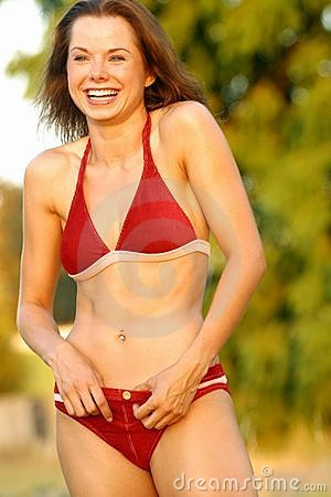 Laughing bikini model.