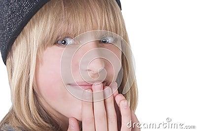 Laughing blonde teenage girl
