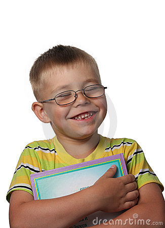 Laughing boy with book