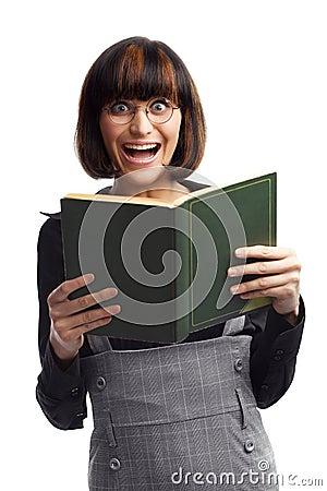 Laughing brunette schoolgirl looking front