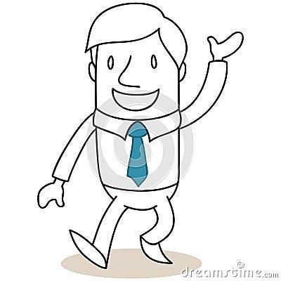 Laughing businessman walking and greeting