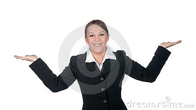 Laughing businesswoman gesturing