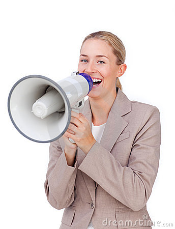 Laughing businesswoman shouting