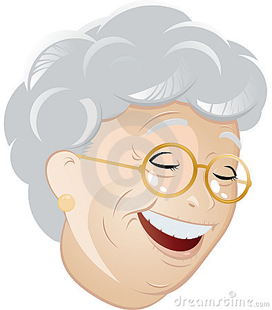 Laughing cartoon grandma