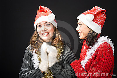 Laughing Christmas Girls