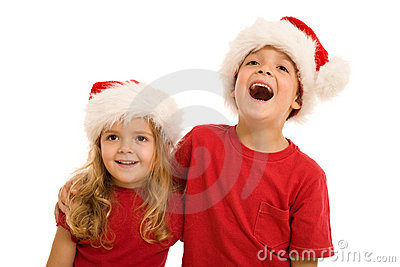 Laughing christmas kids