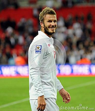 Laughing David Beckham with beard Editorial Stock Image