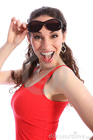 Laughing excited young woman happy in sunglasses